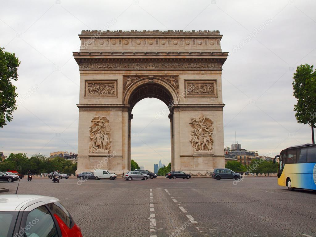 Europe Famous Places Triumph Arch In Paris City Stock Photo