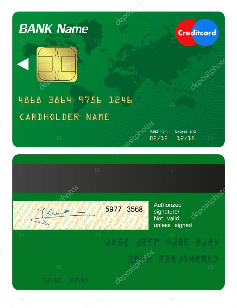 front and back of credit card � stock vector 169 pixxart