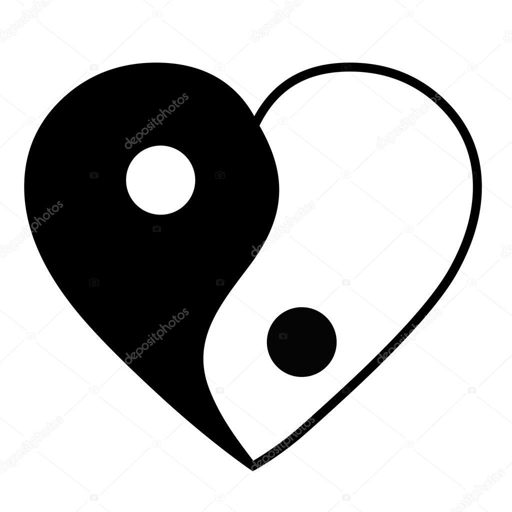 yin yang herz stockvektor pixxart 40476929. Black Bedroom Furniture Sets. Home Design Ideas