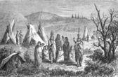 Kemp sioux Indové, rytina girardin ze na tisíc osm set šedesát čtyři