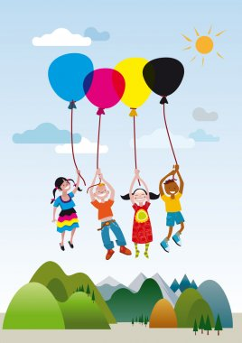 Children Flaying With Balloons