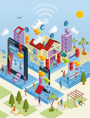 Wireless City in isometrischer Ansicht