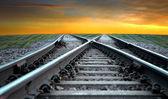 Fotografie Eisenbahn bei Sonnenuntergang