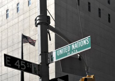 Street sign outside UN building