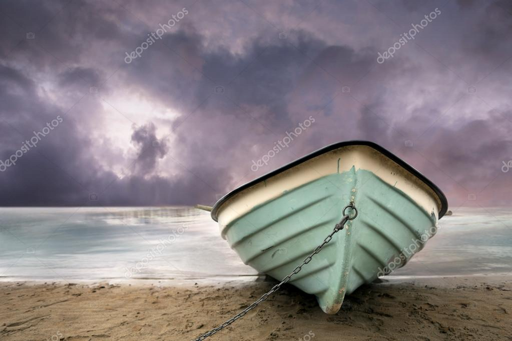 Row boat on beach