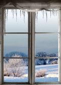 Zimní krajina oknem