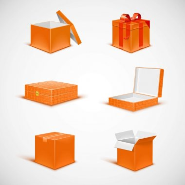 Box isolated vector icon set