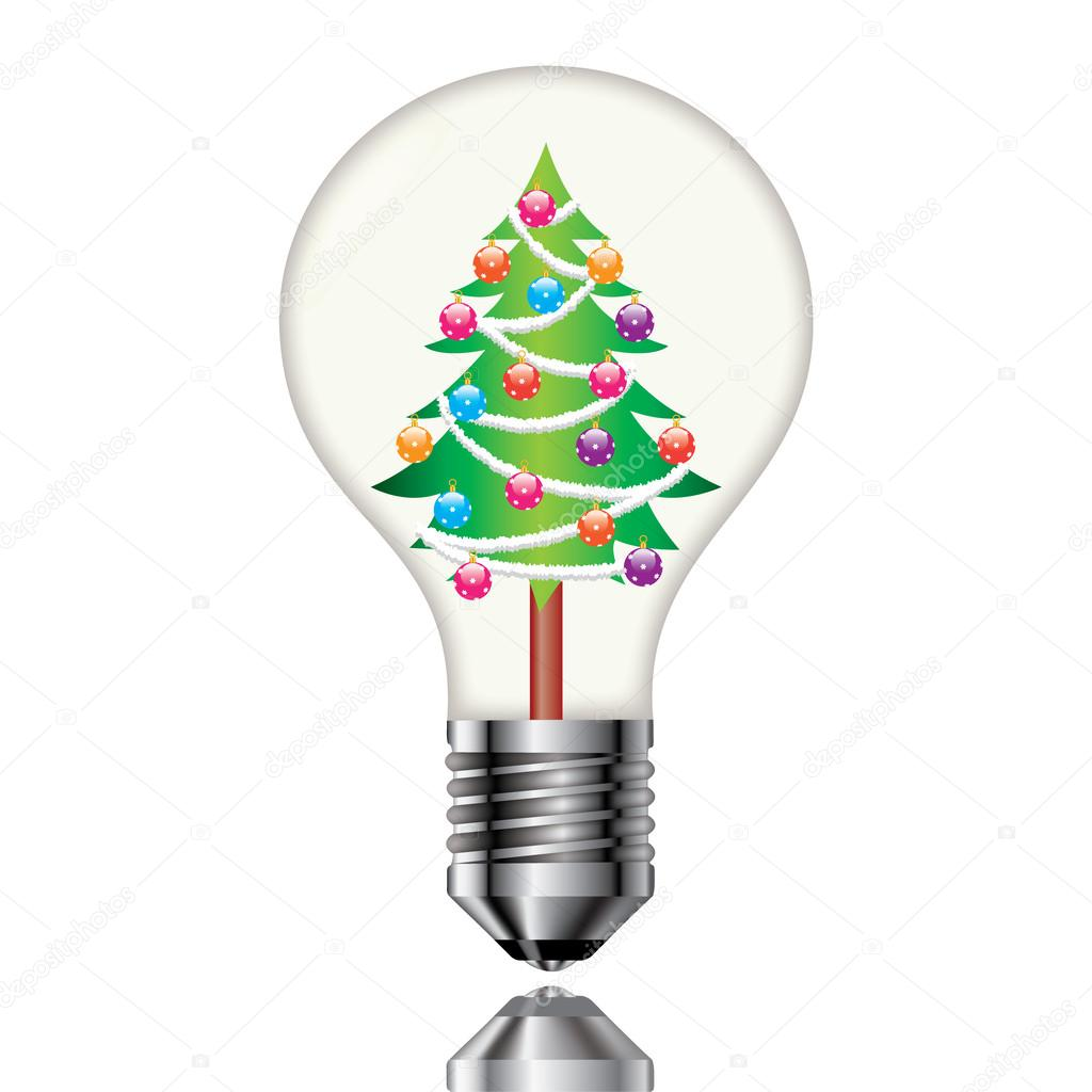 christmas tree in a light bulb on a white background vector by vladimirdelic - Christmas Tree Light Bulb