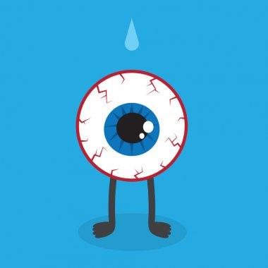 Bloodshot eyeball character standing in blue space stock vector