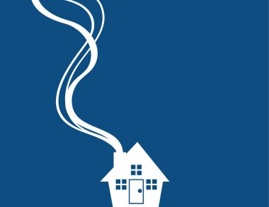House Silhouette Minimal Blue