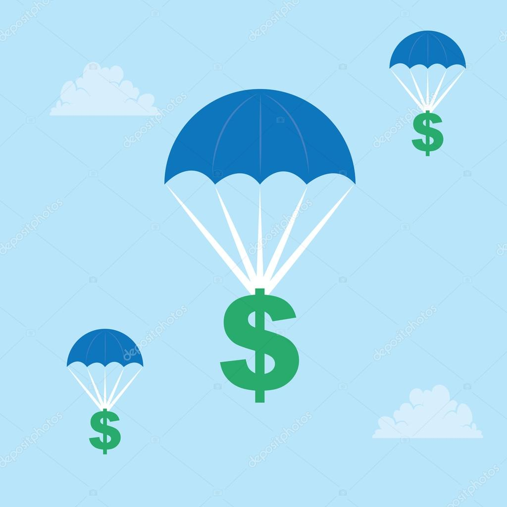 Parachuting Dollar Sign