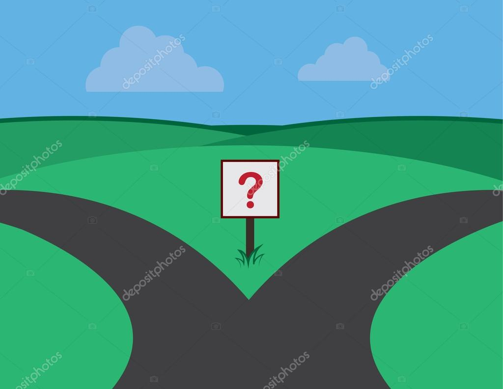 Roads Split Question Sign