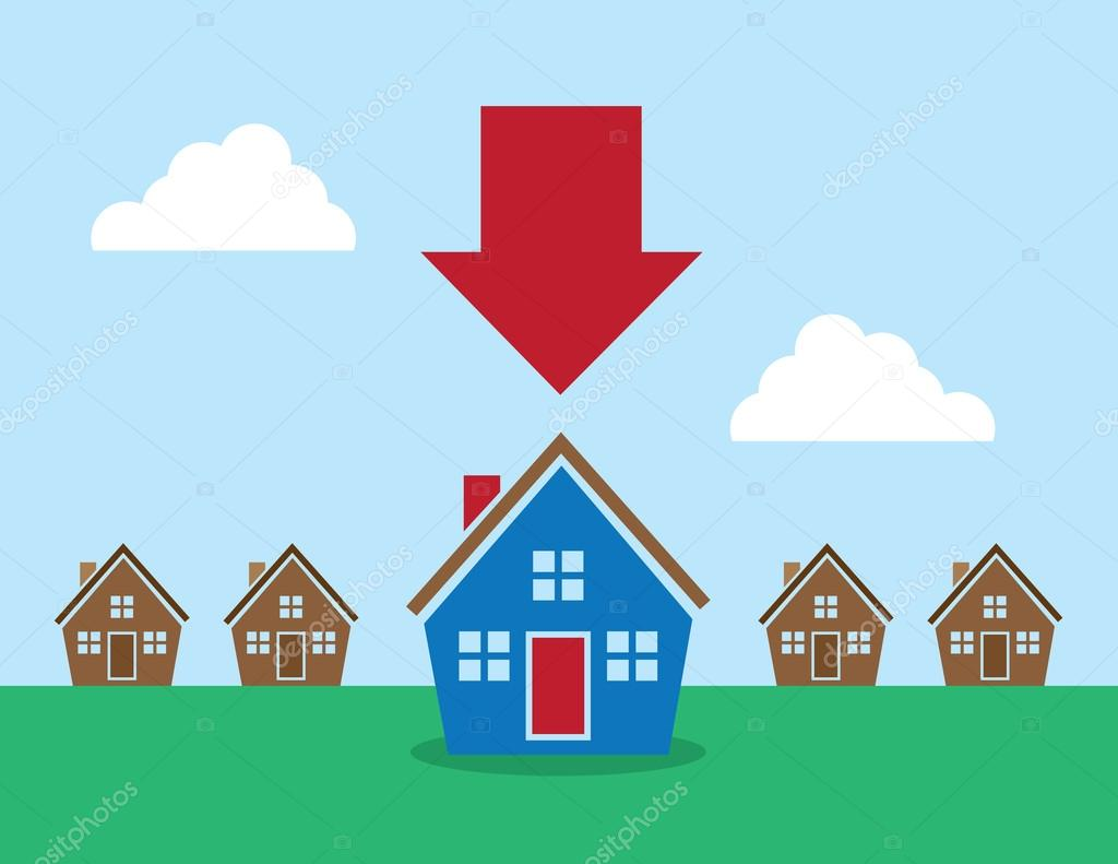 Houses Arrow Pointing at One