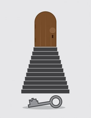 Steps Locked Door Key