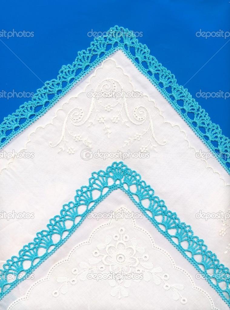 pañuelos de algodón blanco con bordados y encajes de ganchillo azul ...