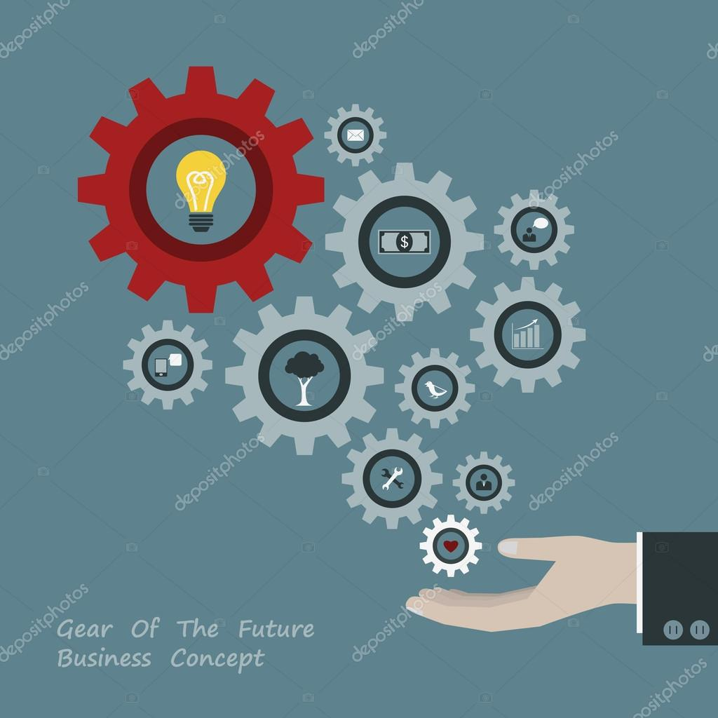 Gear of successful concept in Businessman hand