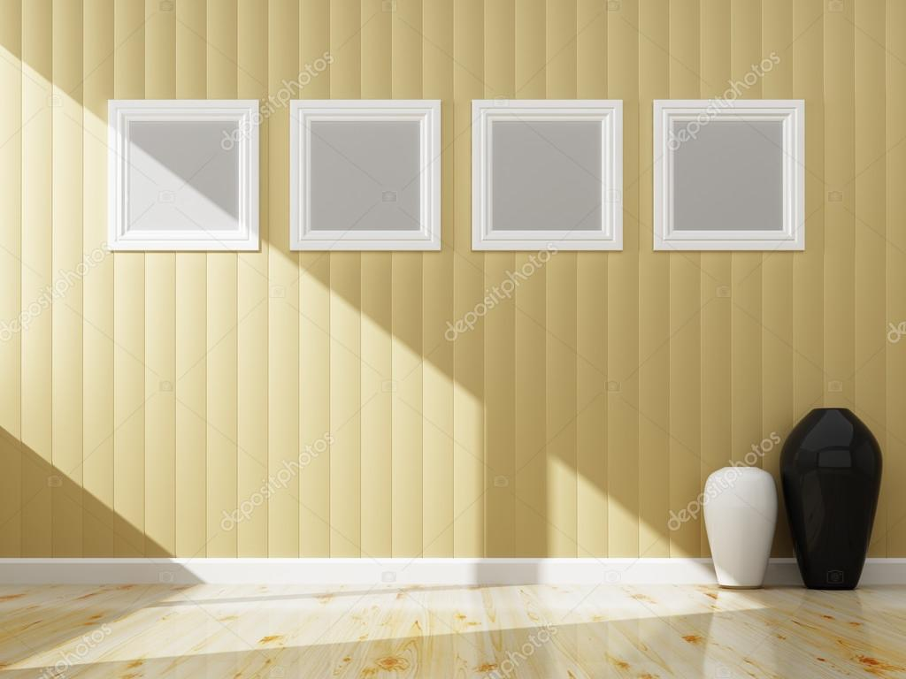 Cream wall color and white frame of interior, 3d rendering — Stock ...