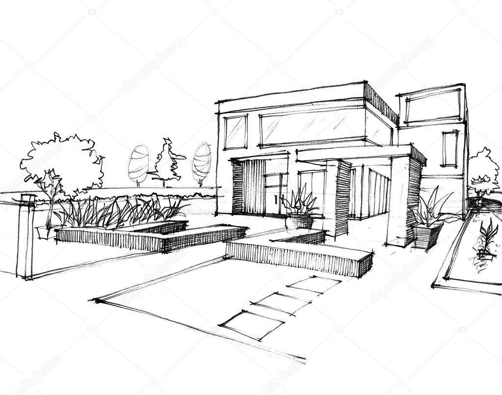 Home sketch design on white paper stock photo sayhmog for Dessin de maison moderne