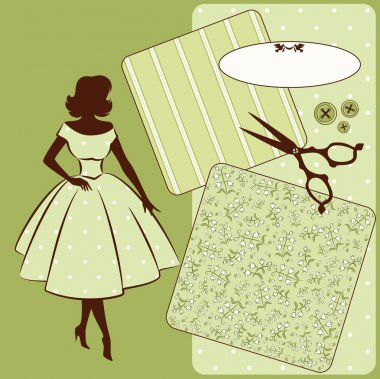 Vintage sewing elements with woman's silhouette on the background