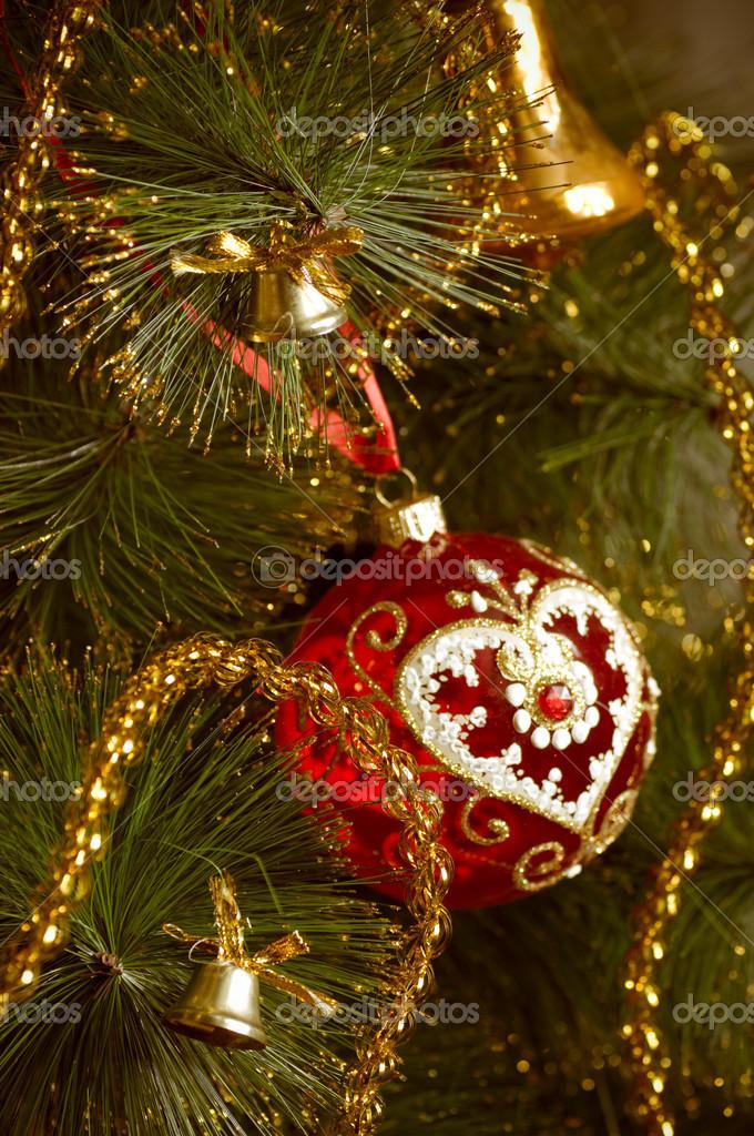 Bellissime Foto Di Natale.Bellissime Decorazioni Di Natale Rosso Appeso A Un Albero Di