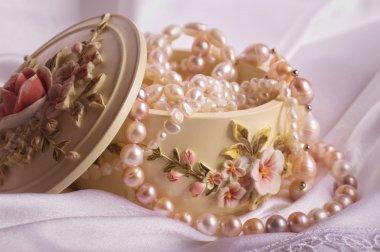 Jewelry box. Casket. Beautiful pearl jewelry