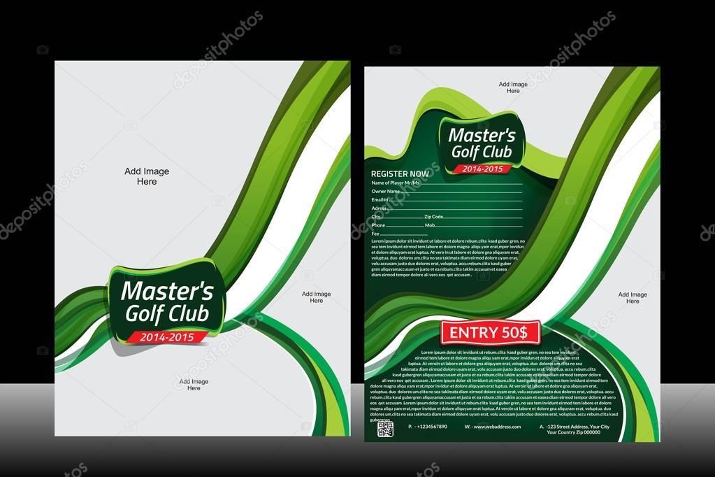 wave golf flyer template stock vector