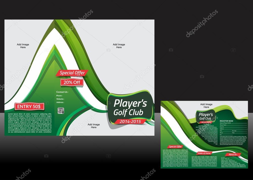 Tri doble diseño folleto golf — Vector de stock © gurukripa #43863069