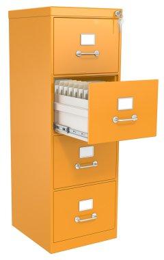 Orange File Cabinet.