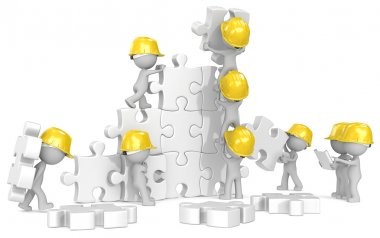 Dude x 9 the builders at puzzle construction site. stock vector