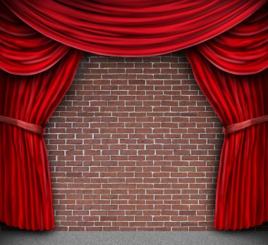 Red Curtains On A Brick Wall
