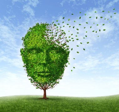 Human dementia problems as memory loss due to age and Alzheimer's disease with the medical icon of a tree in the shape of a front face human head and brain losing le stock vector