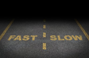 Fast and slow lanes as a business dilemma on how to proceed with a financial plan and strategy in terms of growing more conservative or aggressive growth as an aspha stock vector