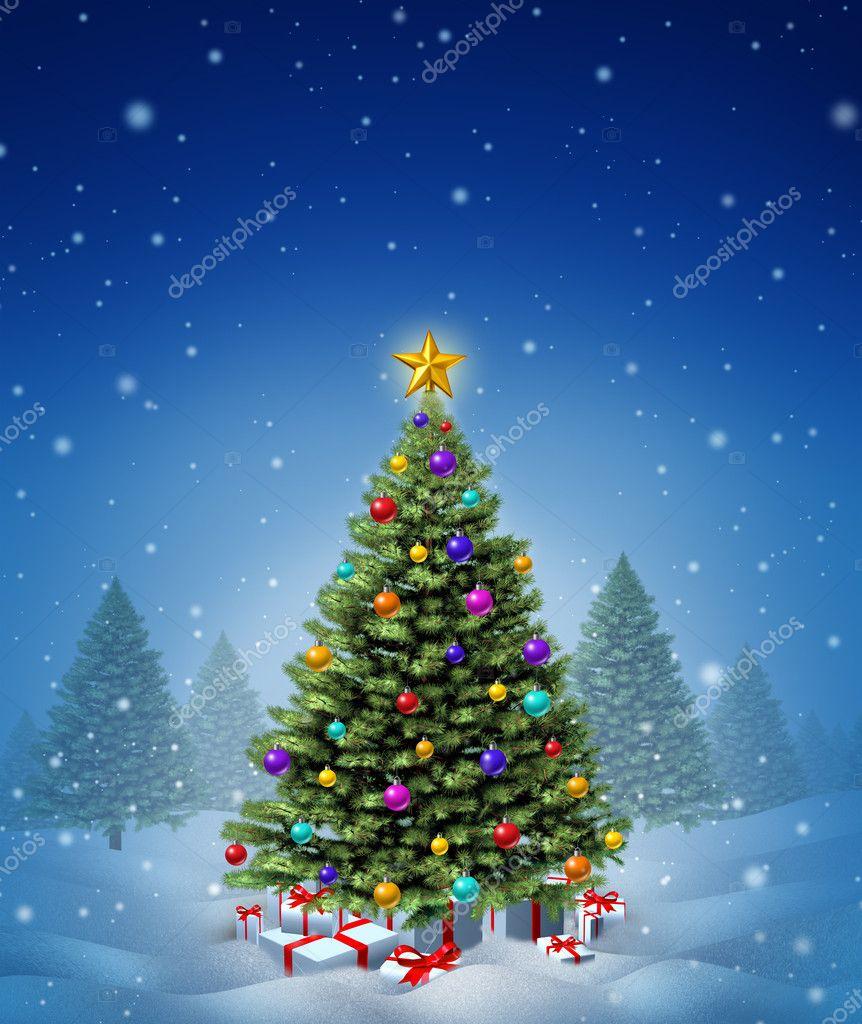 weihnachtsbaum winter stockfoto lightsource 16354011. Black Bedroom Furniture Sets. Home Design Ideas