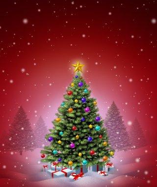 Red Christmas Winter Tree