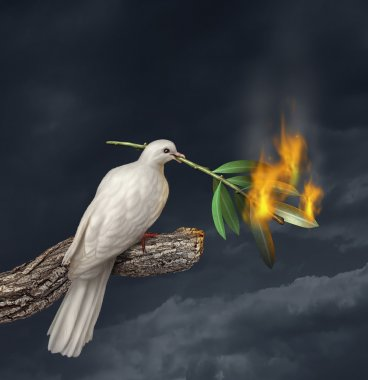 Peace crisis concept with a white dove standing on a tree holding an olive branch on fire as a symbol of the challenges of war fighting and revolution and the elusive search for a truce or agreement in the middle East or other countries in conflict. stock vector