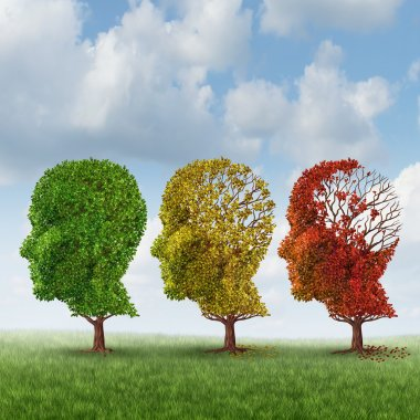 Brain aging and memory loss due to Dementia and Alzheimer's disease with the medical icon of a group of color changing autumn fall trees in the shape of a human head losing leaves as a loss of thoughts and intelligence function. stock vector