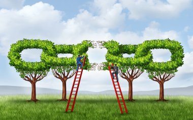 Growing a business partnership and repairing a connected network as a group of trees in the shape of a chain link that is broken is being fixed by two businessmen on ladders working together to form a strong connection. stock vector