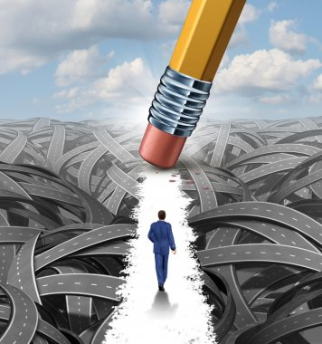Clear the confusion leadership solutions with a businessman walking through a group of tangled roads opened up by a pencil eraser as a business concept of innovative thinking for financial success. stock vector