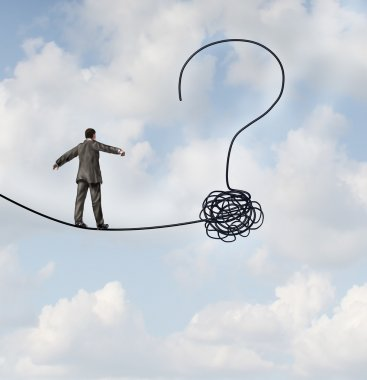 Risk uncertainty and planning a new journey as a businessman walking on a tight rope that getets tangled and shaped as a question mark as a metaphor for confusion at the road ahead as a business concept of finding solutions to change for success. stock vector