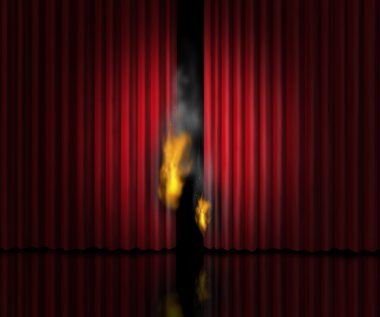Hot show entertainment concept as a theatre stage with red velvet curtains or drapes burning with flames and smoke as a metaphor for a sizzling cinematic performance or the heat of gossip scandal or steamy rumors. stock vector
