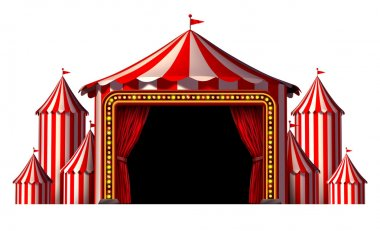Circus stage tent design element as a group of big top carnival tents with a red curtain opening entrance as a fun entertainment icon for a theatrical celebration or party festival isolated on a white background. stock vector