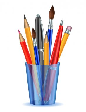 Brushes, pencils and pens in the holder.