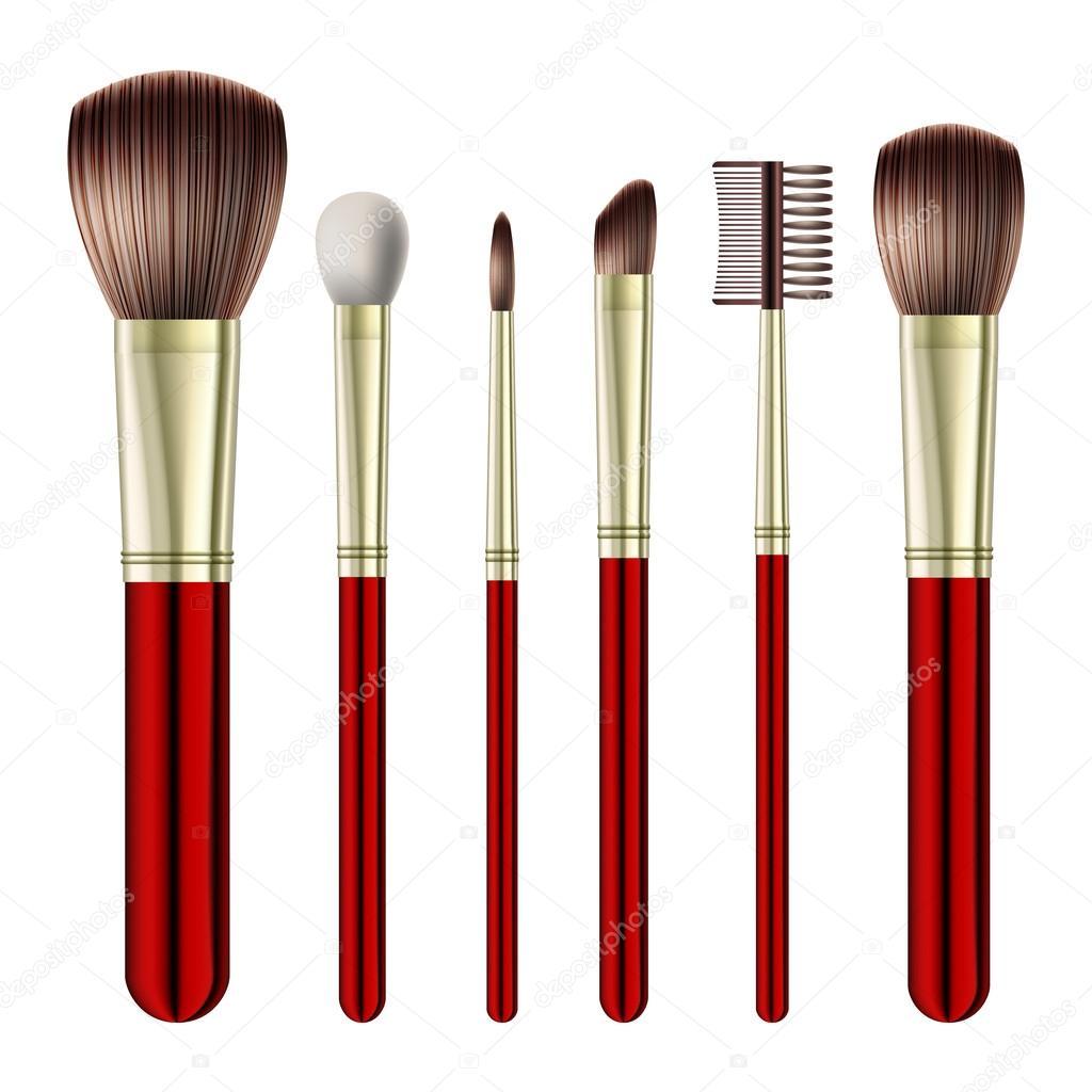 Set Of Makeup Brushes On White Background Vector Illustration By Tassel