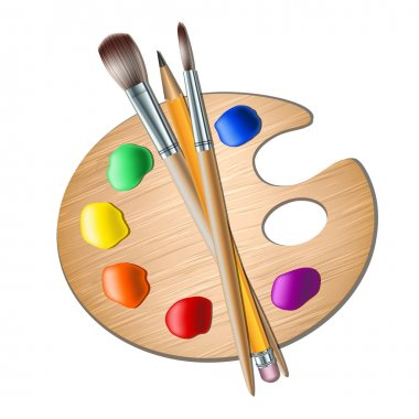 Art palette with paint brush for drawing. Vector illustration stock vector