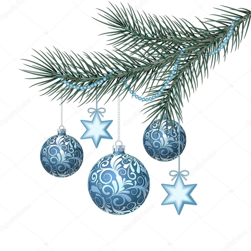Blue christmas balls on green spruce branch