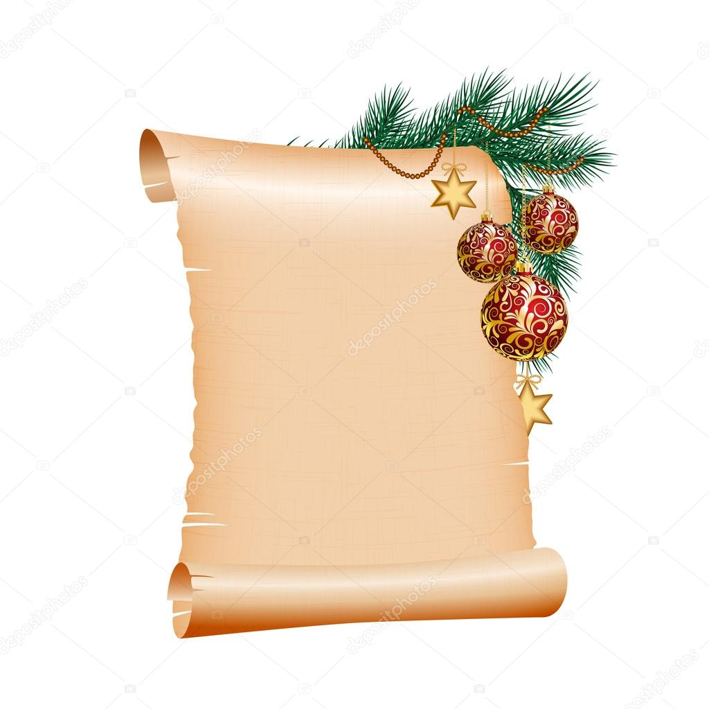 christmas blank scroll paper on white background — stock vector, Powerpoint templates