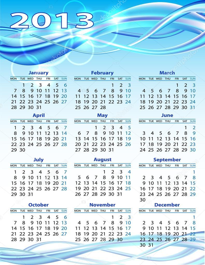 2013 year calendar stock vector tassel 16678485