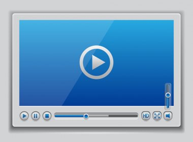 Blue glossy video player template