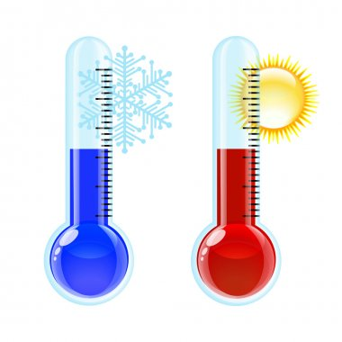Thermometer Hot and Cold icon. Vector illustration clip art vector