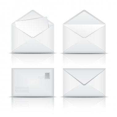 Set of White envelopes. Vector illustration on white background stock vector